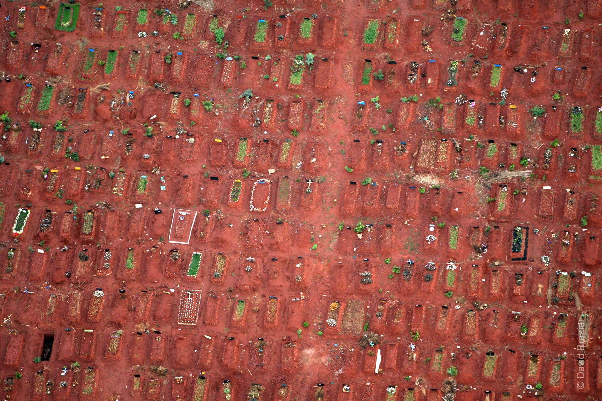 Aerial view of graves in red soil, Harare